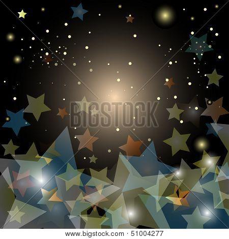 Abstract Starry Night Sky - Vector Illustration
