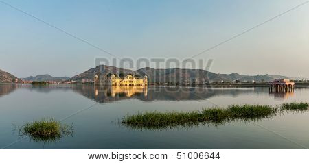 Panorama of Man Sagar Lake and Jal Mahal (Water Palace) on sunset.  Jaipur, Rajasthan, India