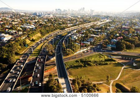 Morning Rush Hour From Above In Brisbane