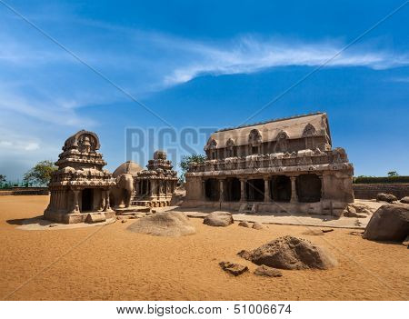 Five Rathas - ancient Hindu monolithic Indian rock-cut architecture. Mahabalipuram, Tamil Nadu, South India