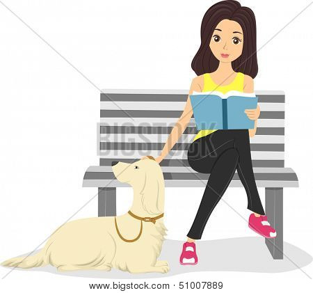 Illustration of a Girl Stroking Her Pet's Fur While Reading a Book