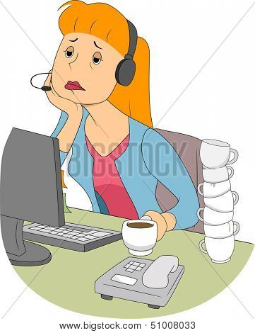 Illustration of a Bored and Sleepy Girl Sitting in Front of a Computer