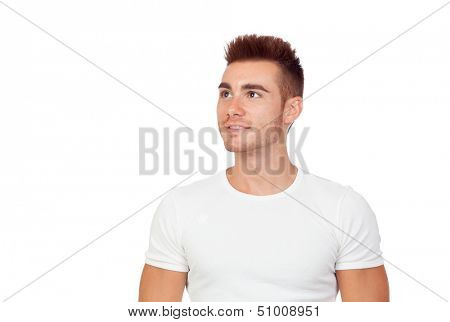 Attractive guy with spiky hair isolated on white background