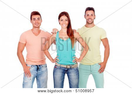 Two handsome boys with a beautiful girl isolated on a white background