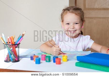 Little Cute Girl Painting With Brush