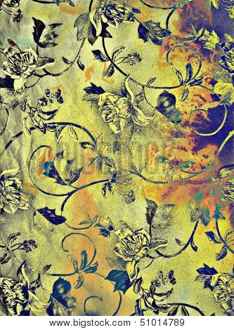 Abstract textured background with blue and floral brown patterns on yellow backdrop. For art texture, grunge design, and vintage paper / border frame