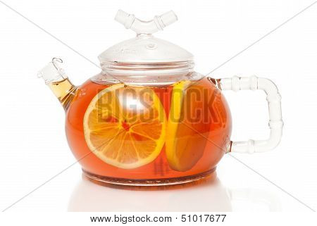Tea in Glass Teapot With Lemon Slice