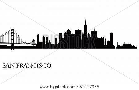 San Francisco City Skyline Silhouette Background