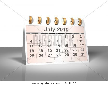 Desktop Calendar (3D). July, 2010.