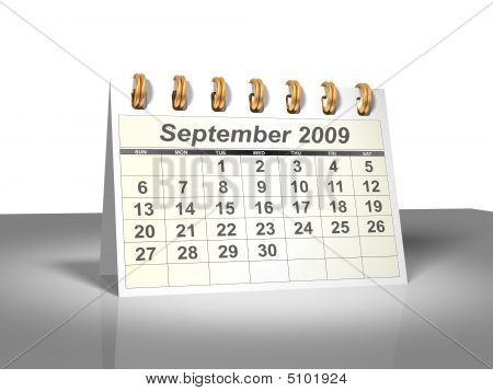 Desktop Calendar (3D). September, 2009.