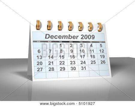 Desktop Calendar (3D). December, 2009.