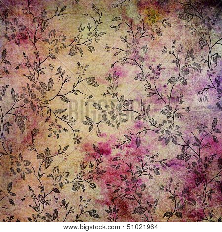 Abstract colorful background or paper with flower-theme grunge texture. For vintage layout design, holiday background invitation or web template