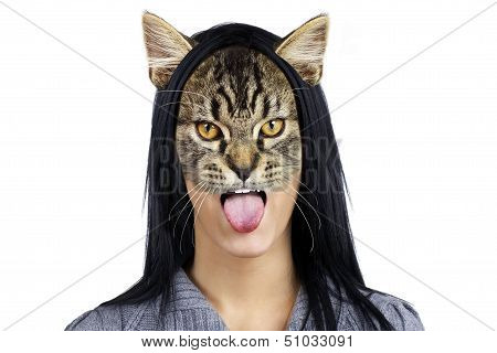 Portrait Of Cat Woman Making Face