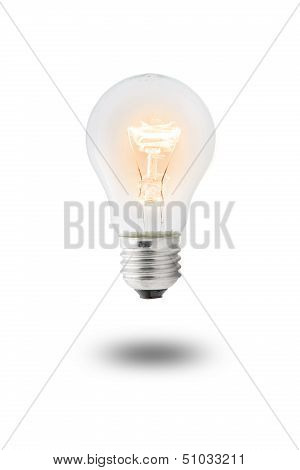 Glowing yellow light bulb,  Realistic photo image