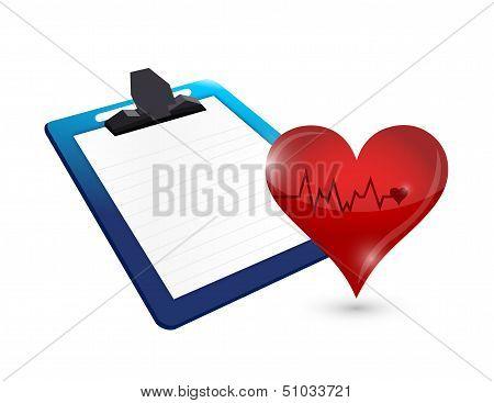 Clipboard And Lifeline Heart Illustration Design