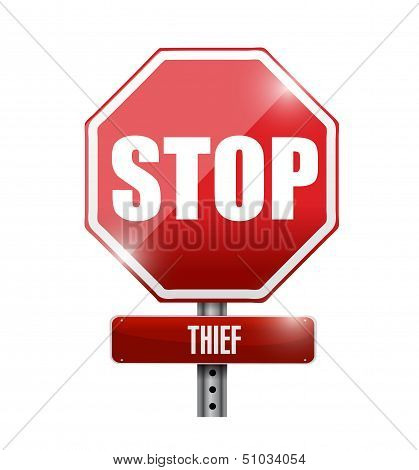 Thief Stop Road Sign Illustration Design