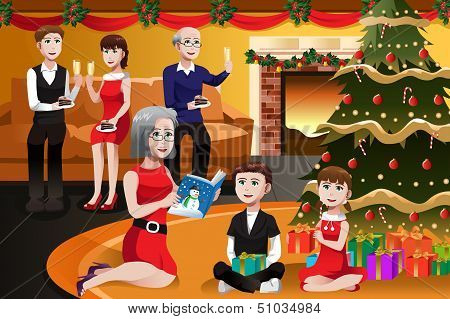 Family Having A Christmas Party