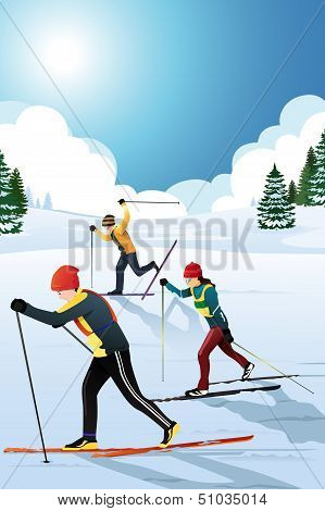 Skiers In The Winter