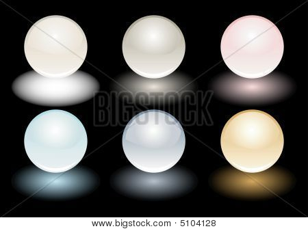 Color Vector Realistic Pearls Isolated On Black
