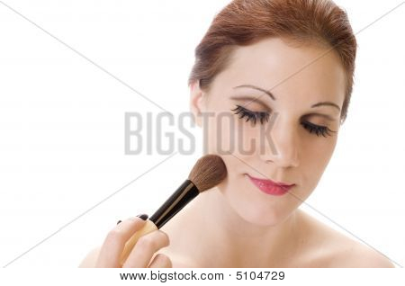 Pale Beauty With Makeup Brush