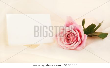 Single Pink Rose And Note