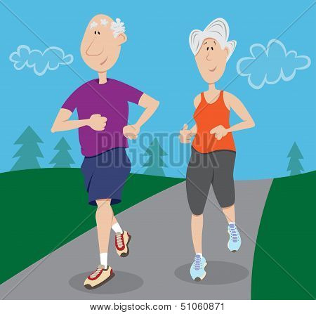 Senior citizens jogging