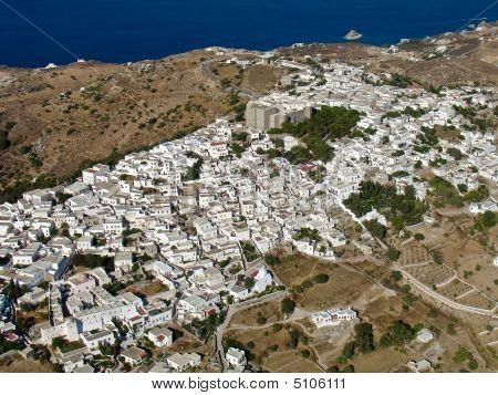 Chora, Patmos Island, Greece, Aerial
