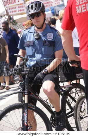 Seattle Policeman On Bicycle Patrol