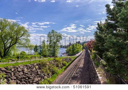 Railway Tracks Along The Lakewalk In Duluth