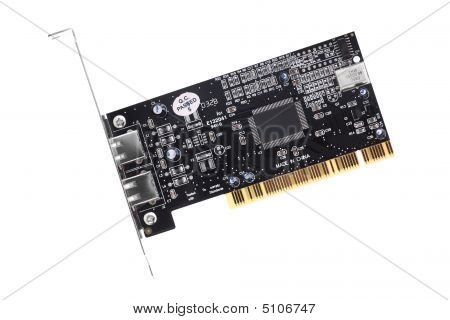Computer Pci Card With Firewire Ports Isolated On White