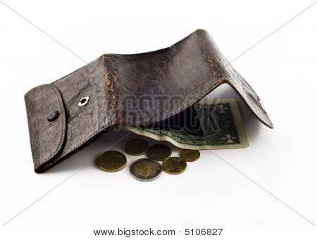 Opened Frayed Leather Wallet With One Dollar Bond And Change