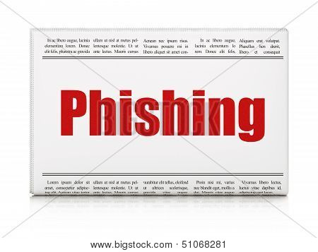 Safety news concept: newspaper headline Phishing