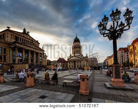 French Cathedral And Concert Hall On Gendarmenmarkt Square In Berlin, Germany