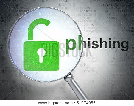 Security concept: Opened Padlock and Phishing with optical glass