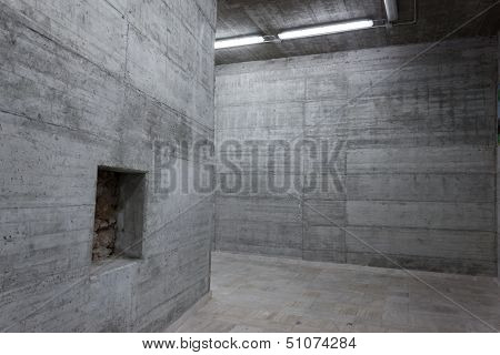 Concrete Walls Inside A Modern Building