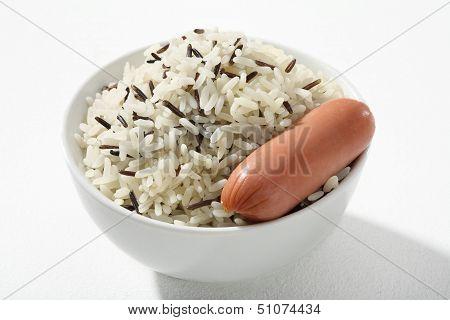 Black & white rice with frankfurter