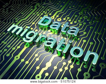 Data concept: Data Migration on circuit board background