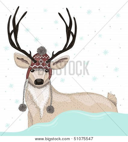 Cute deer with hat winter background