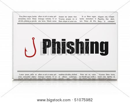 Safety news concept: newspaper with Phishing and Fishing Hook