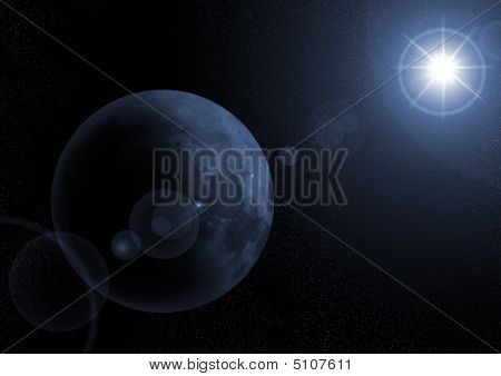 Moon With Sunrize In Space