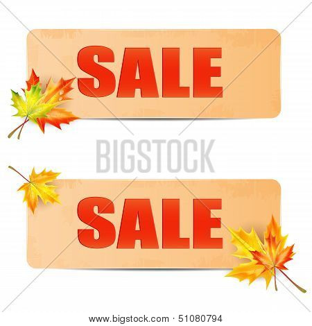 Seasonal Autumn Sale.sheets Of Paper With The Word Sale Decorated Autumn Maple Leaves.announcement O