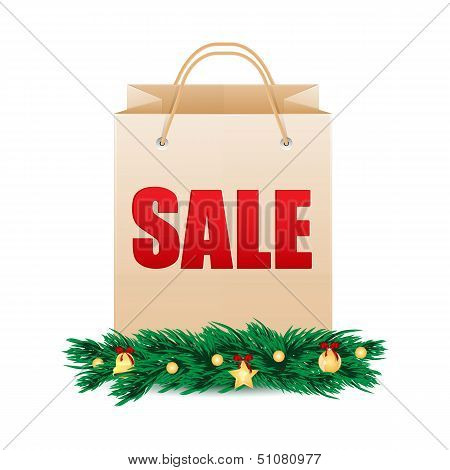 Shopping Bag With The Word Sale Decorated With Fir Branches And Christmas Decorations.seasonal Chris