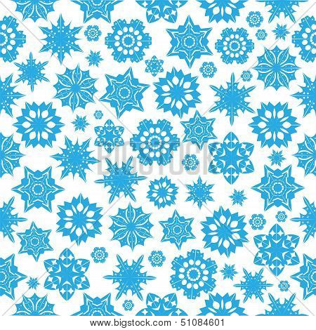 Seamless Pattern With Blue Snowflakes On A  White  Background.winter Background.vector