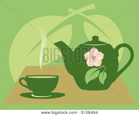 Teapot With A Tea Cup.eps