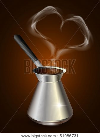 Coffee Heart of smoke. Coffee maker. Vector.