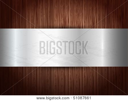 Texture of wood with silver panel.