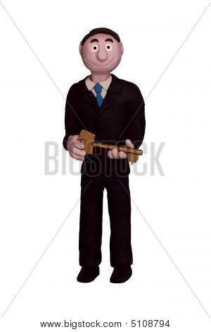 Businessman Holding Key