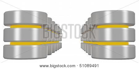 Rows Of Databases Icon With Yellow Elements Perspective View