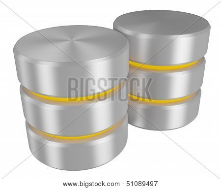Pair Of Databases Icon With Yellow Elements Perspective View