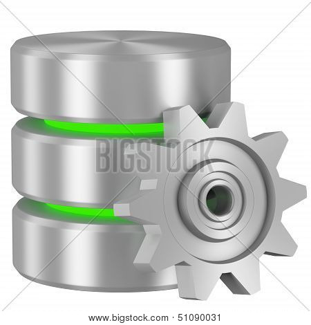 Database Icon With Green Elements And Cogwheel
